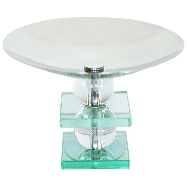 French Art Deco Crystal and Chrome Compote - Image 1 of 4