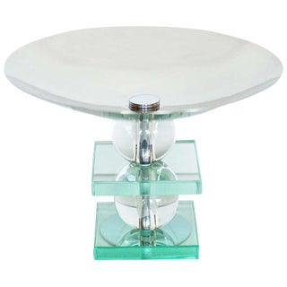 French Art Deco Crystal and Chrome Compote - 5oth Anniversary Sale For Sale