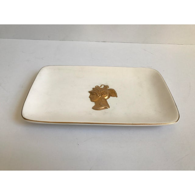 Matte White Serving Platter With Gold Bust - Image 3 of 7
