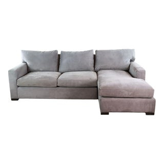 Crate & Barrel Gray Upholstered Sectional Sofa For Sale