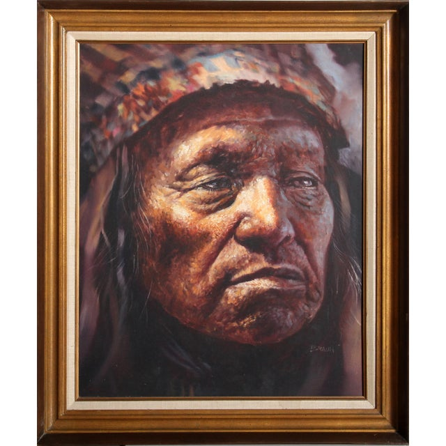 Jorge Braun Tarallo, American Indian Chief Portrait, Oil on Canvas For Sale - Image 4 of 4
