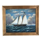 Image of Early American Ship Painting For Sale