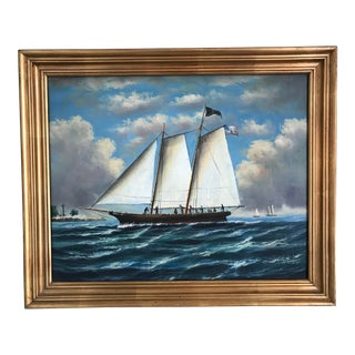 Early American Ship Painting For Sale