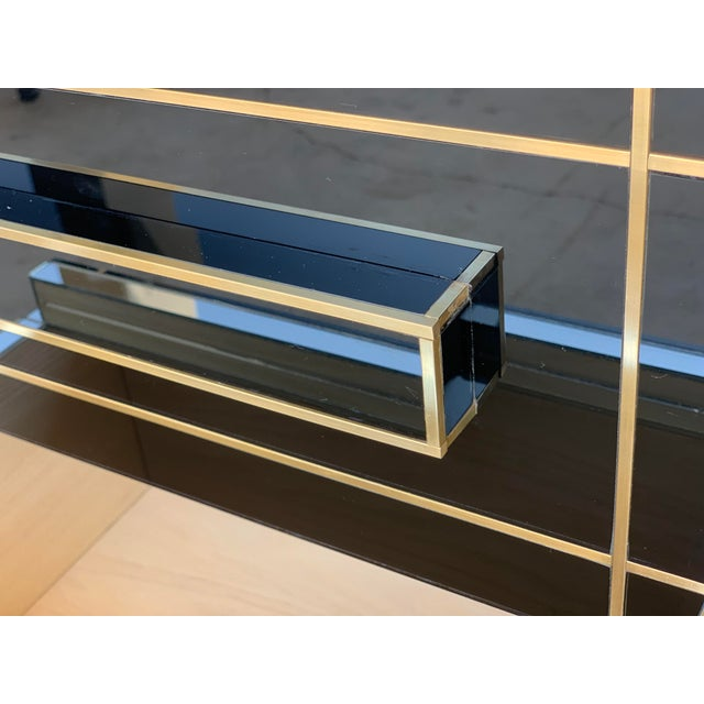 New Pair of Mirrored Nightstands in Black Mirror With Two Drawers For Sale - Image 11 of 13