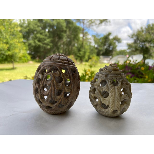 Tan Vintage Stone Hand-Carved Eggs- a Pair For Sale - Image 8 of 12