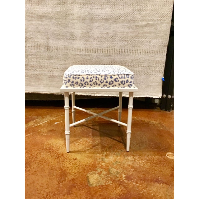 Shabby Chic Port 68 Transitional Blue and White Leopard Print Doheney Bench For Sale - Image 3 of 6