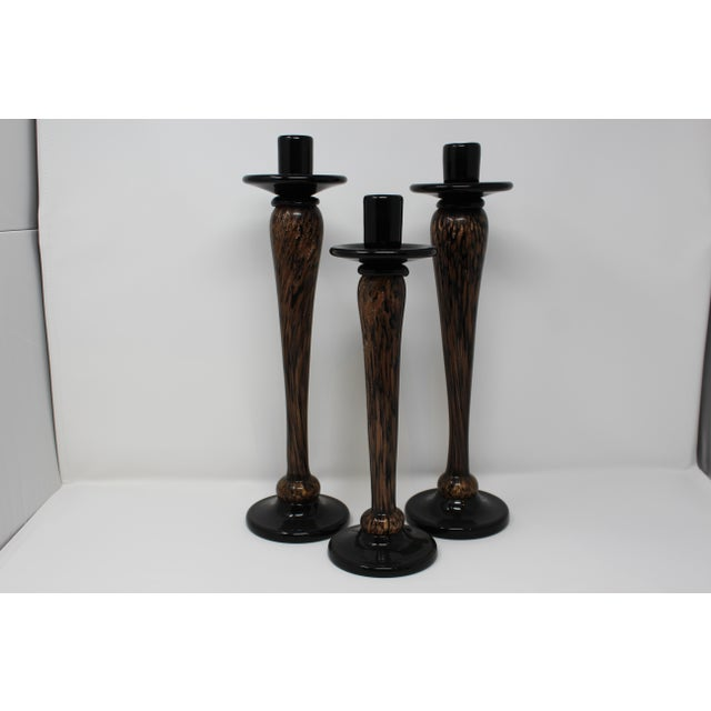 1970s 1970s Aventurine Murano Candleholders - Set of 3 For Sale - Image 5 of 5