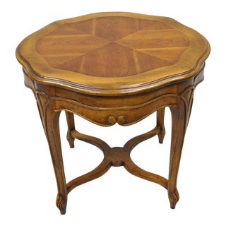 Vintage Country French Provincial Walnut Turtle Top Accent End Table