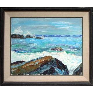 """1960s """"Carmel Beach, Near Point"""" Coastal Seascape Oil Painting, Framed For Sale"""
