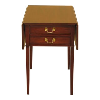 Henkel Harris Drop Leaf Mahogany 2 Drawer Pembroke Table For Sale