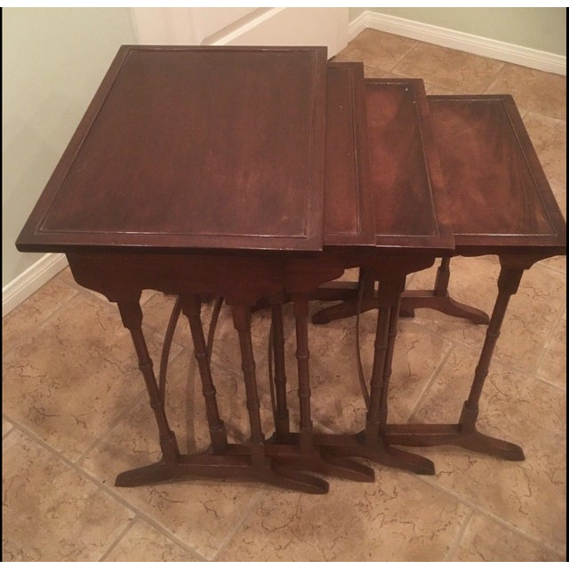 1920s George III Style Mahogany Nesting Tables - Set of 4 For Sale - Image 4 of 4