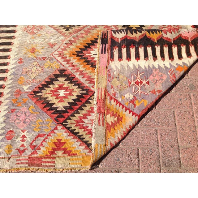 "Vintage Turkish Kilim Rug - 5'5"" X 9'11"" - Image 6 of 6"