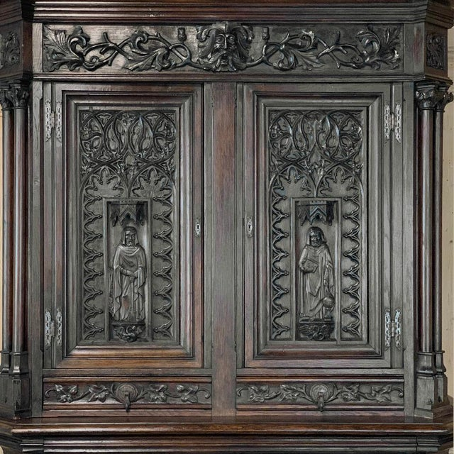 19th Century French Gothic Buffet a Deux Corps ~ Cabinet For Sale - Image 10 of 13