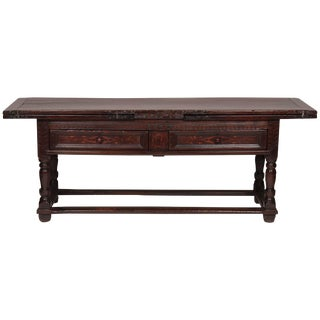 Fine Spanish Baroque Walnut and Inlaid Draw Table For Sale