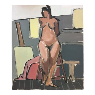 "C 1950s Gouache Painting ""Easel"" San Francisco Figurative Movement For Sale"