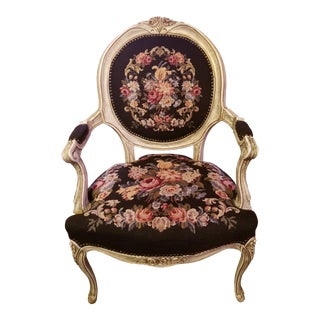 Early 20th Century Vintage French Provincial Louis XVI Needlepoint Chair For Sale