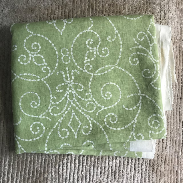 "2010s Raoul ""Vizcaya"" Textiles Green Linen Fabric 2 1/3 Y For Sale - Image 5 of 9"