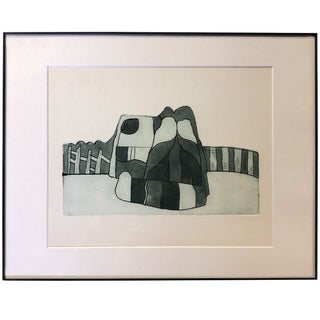1970s Vintage Architectural Structure With Fence and Wall Intaglio Print For Sale