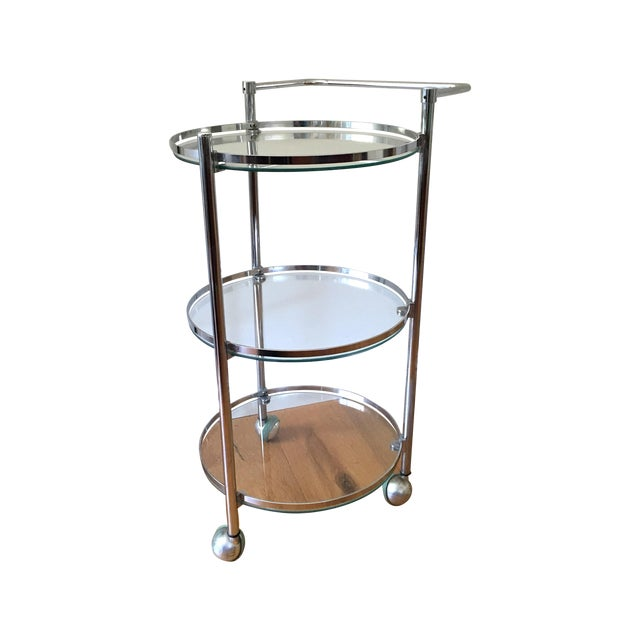 Chrome and Glass 1970s Bar Cart - Image 1 of 5