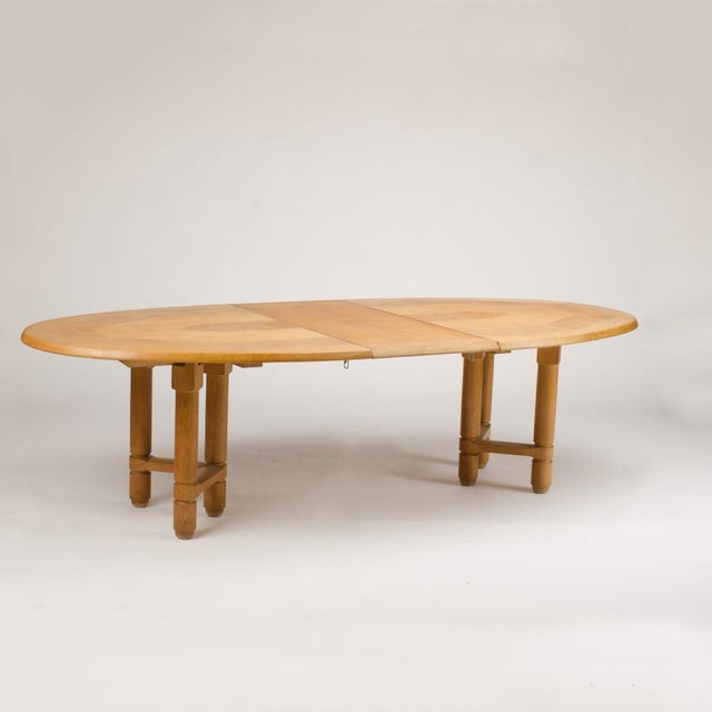 Mid-Century Modern 1960s Guillerme Et Chambron Solid Oak Extendable Dining Room Table For Sale - Image 3 of 5