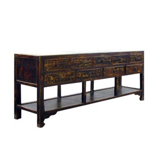 Vintage Chinese Long Console Sideboard With Marble Top For Sale
