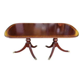 Banded Mahogany Ethan Allen 18th Century Classics Dining Room Table W/ 2 Leaves 1990s For Sale
