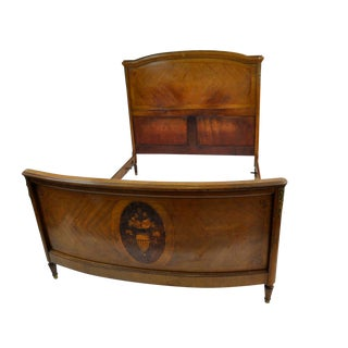 1900s Louis XVI Ormolu Inlaid Single Bed Frame