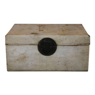 Chinese White Leather Trunk For Sale