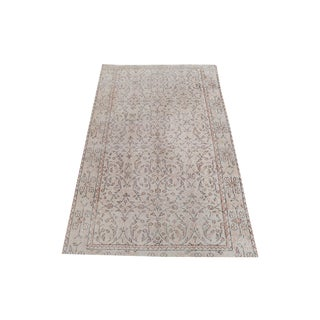 Distressed Vintage Turkish Hand Knotted Rug - 3′6″ × 5′7″ For Sale