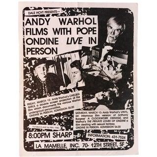 Vintage Andy Warhol Films Handbill