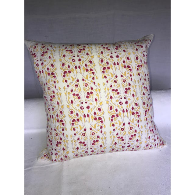New Cotton block print pillow from John Robshaw, with insert. The print is a combination of golden yellow trailing vines,...
