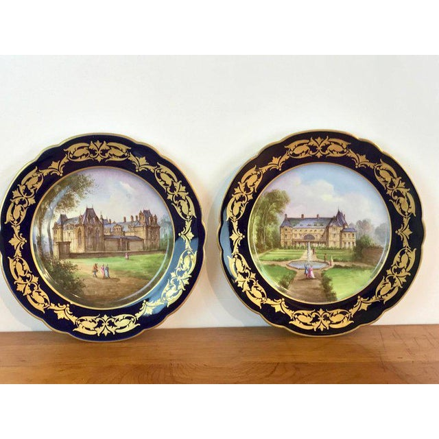 Pair of Sevres Chateau Plates For Sale - Image 11 of 13