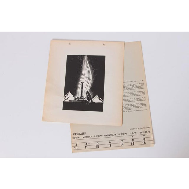 """Art Deco 1939 Rockwell Kent """"Flame"""" original block print calendar One of Kent's most compelling wood-cut images. Likely..."""