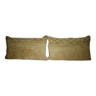 Vintage Handwoven Low Pile Soft Color Oushak Ushak Rug Pillow Cover 16'' X 28'' (40 X 70 Cm) For Sale