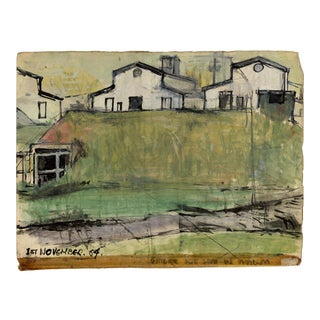 Gouache American Folk Art Sketch on Paper 1964 For Sale