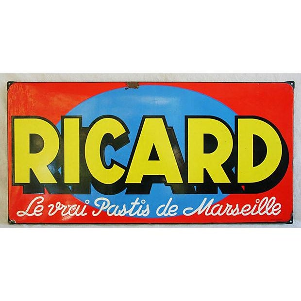1950 French Porcelain Ricard Anisette Liqueur Sign For Sale - Image 7 of 7