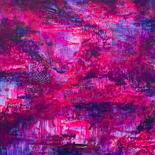 "Original Jennifer Hayes Abstract Painting ""Amethyst & Rubies"" For Sale"