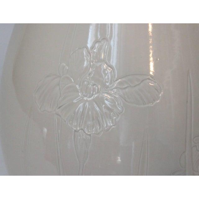 White Antique Japanese Carved Studio Blanc De Chine Porcelain Vase For Sale - Image 8 of 11