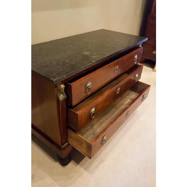 Louis Philippe Empire Style Stone Top Three-Drawer Commode, France Circa 1840 For Sale - Image 11 of 13