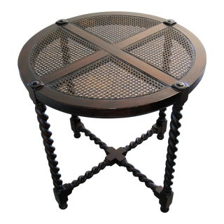 Antique Traditional Round Wood Table with Cane Insert Top For Sale