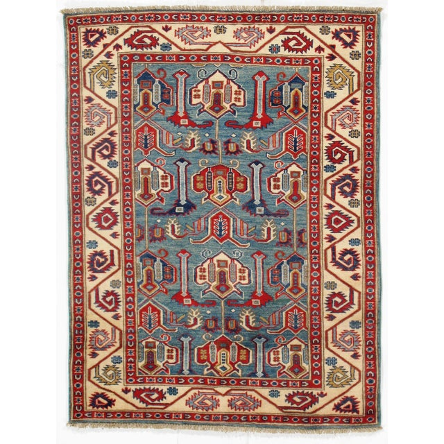 2010s Contemporary Pak Kazak Lamb's Wool Rug - 3′6″ × 5′ For Sale - Image 5 of 5
