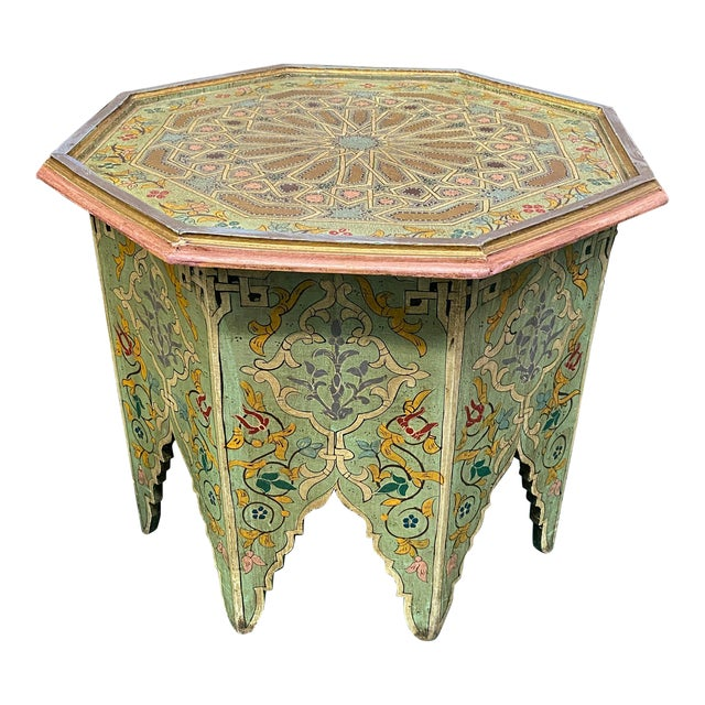 1970s Moorish Octagonal Hand Painted Accent Table For Sale