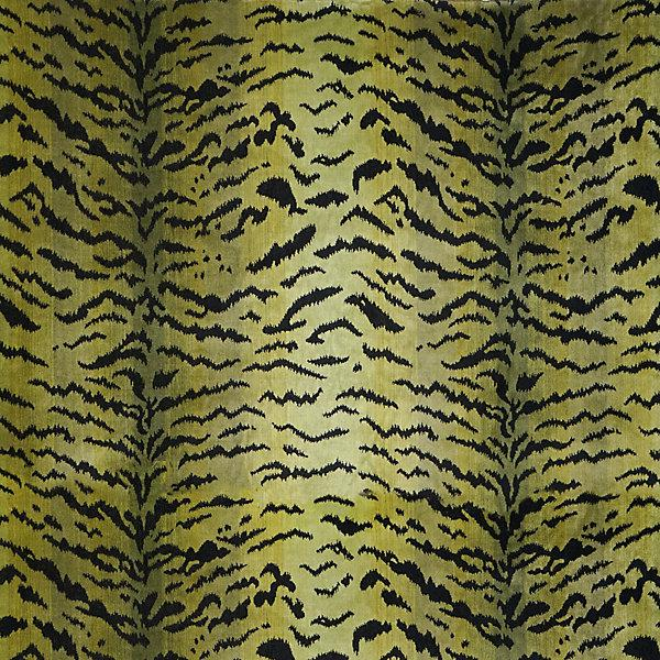 Contemporary Sample, Scalamandre Tigre, Greens & Black Fabric For Sale - Image 3 of 3