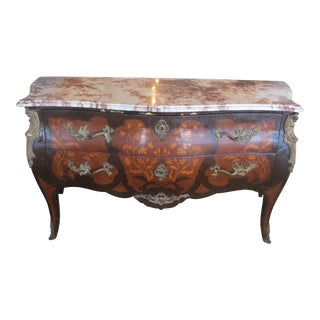 Antique Large French Inlay Chest With Red Marble Top and Ormolu Accents For Sale