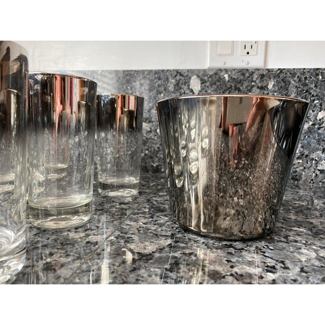 Mid-Century Modern Silver Shade Down Cocktail Glasses & Ice Bucket - Set of 13 For Sale - Image 3 of 9