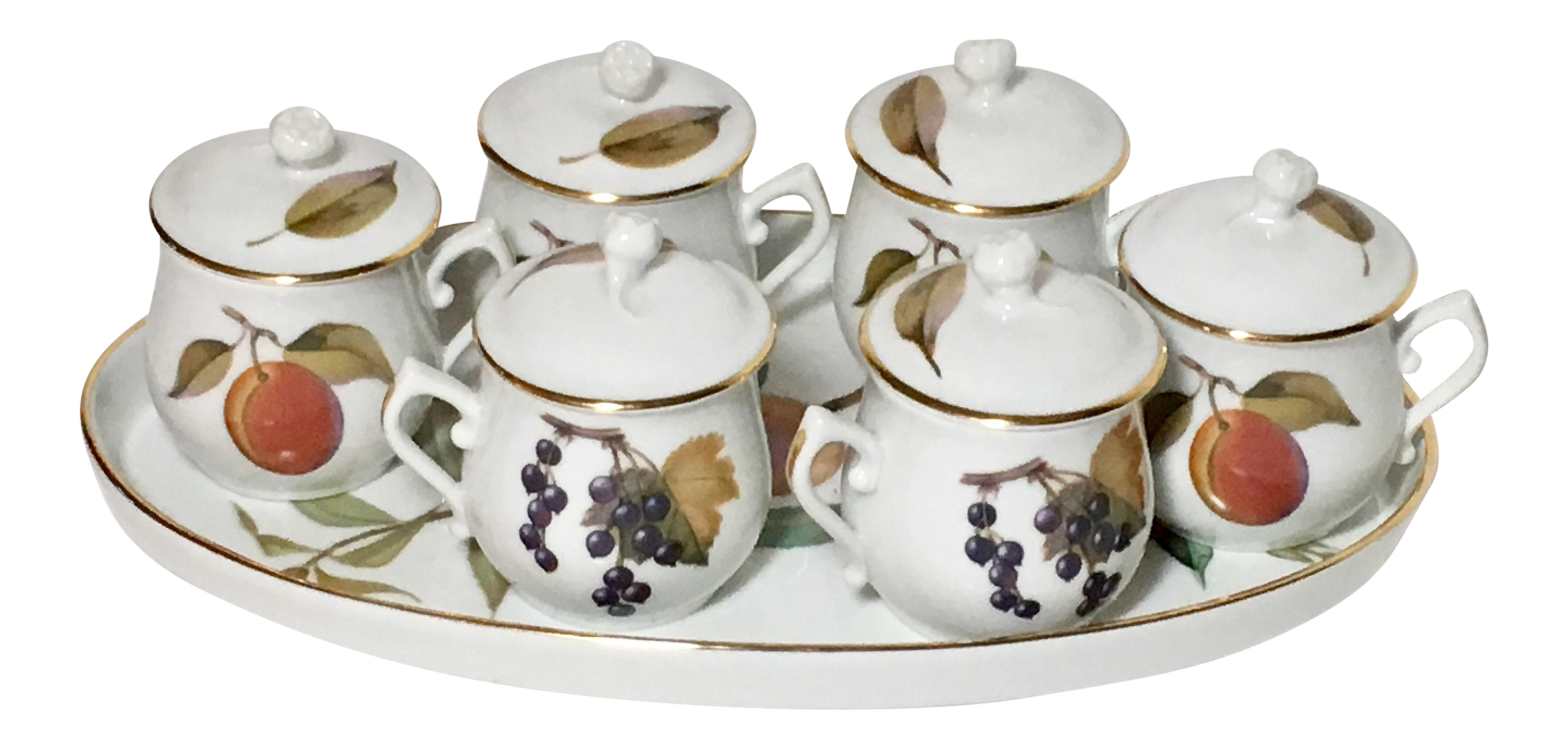 Royal Worcester Posset Cups u0026 Tray Evesham Service - Set of 7  sc 1 st  Chairish : evesham tableware - pezcame.com