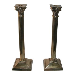 Tall Corinthian Roman Column Style Brassy Candlestick Holders - a Pair For Sale