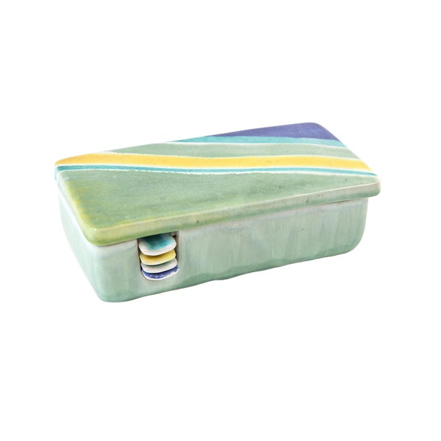 Italian Raymor Celadon Ceramic Box Ashtray Set - 5 Pc. Set For Sale