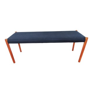 1970's Vintage J.L. Møllers Møbelfabrik Danish Modern Blue Bench For Sale