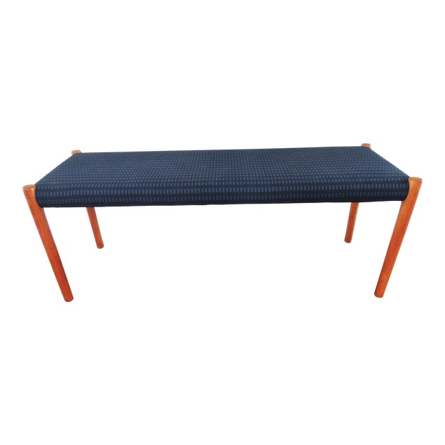 1970's Vintage J.L. Møllers Møbelfabrik Danish Modern Blue Bench For Sale